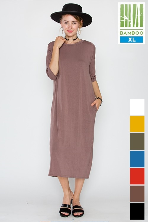 BAMBOO 1/2 SLV MIDI DRESS - orangeshine.com