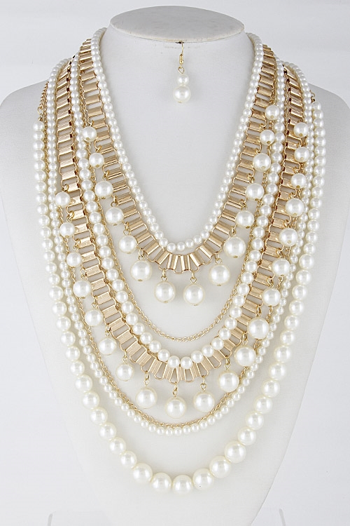Thick Faux Pearl Necklace - orangeshine.com