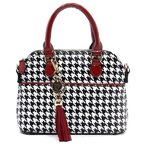 Patent Leather Houndtooth Tote - orangeshine.com