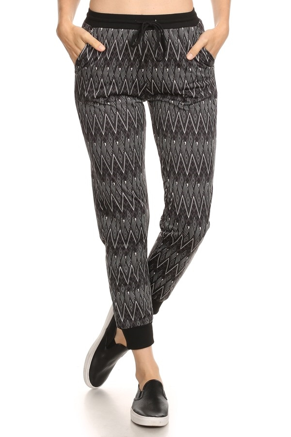 Chevron Fleece Lined Joggers  - orangeshine.com