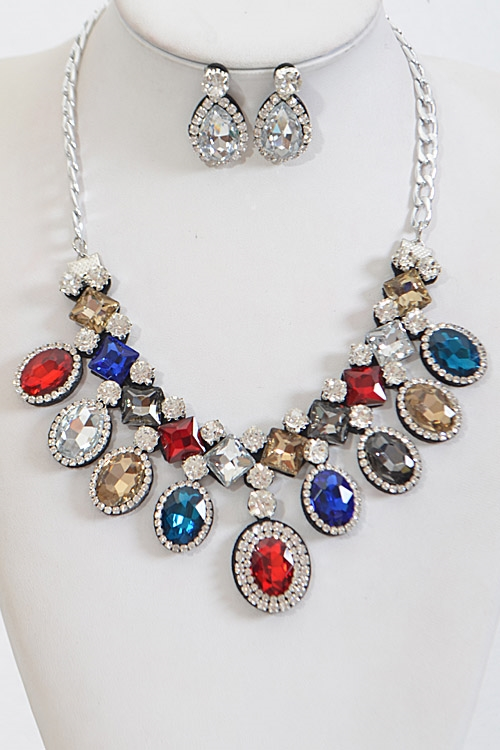 Shiny Multi Shape Necklace - orangeshine.com
