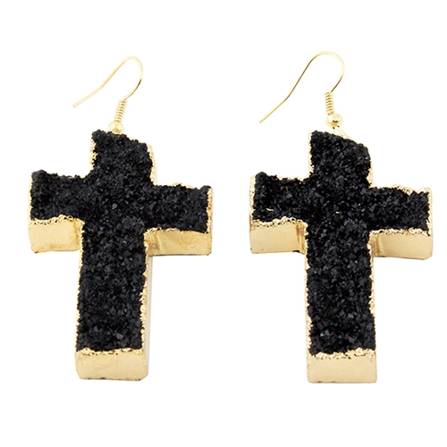 Druzzy Cross Earrings - orangeshine.com