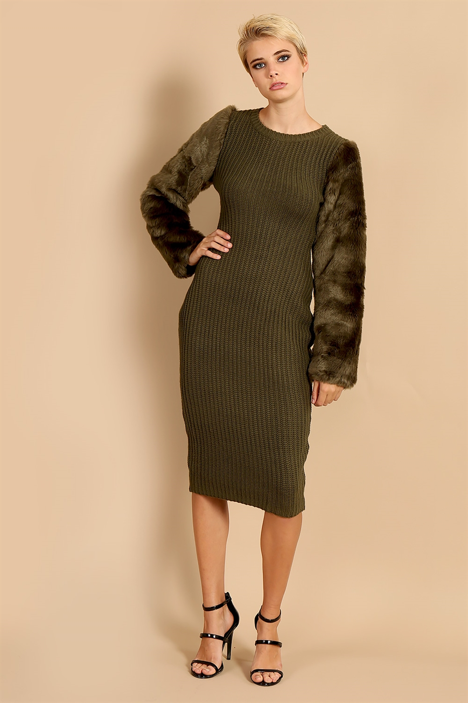 Fur Sleeve Dress - orangeshine.com