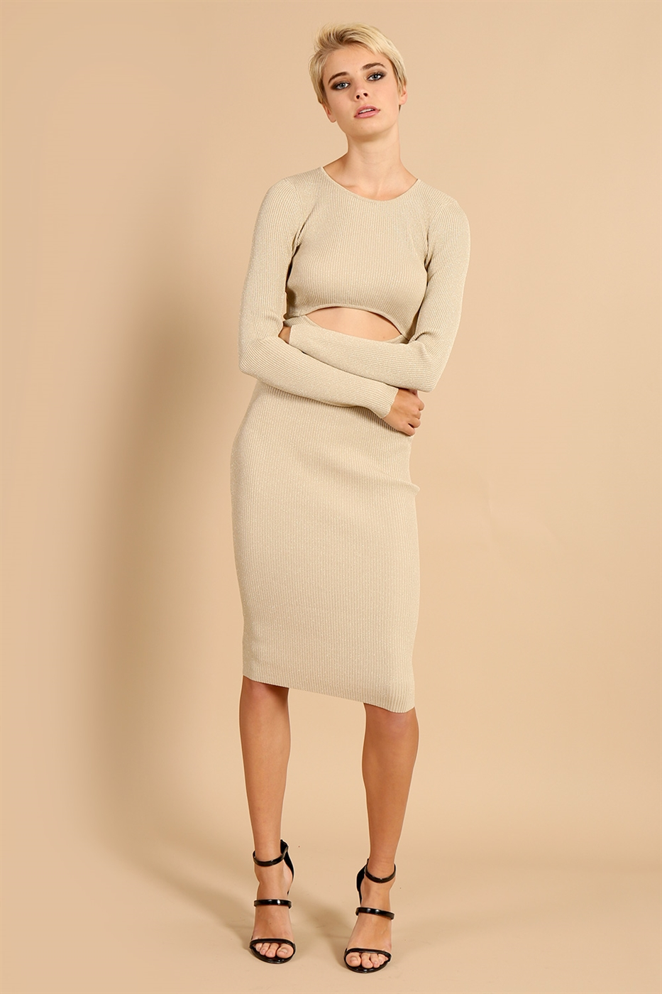Long Sleeve Cutout Dress - orangeshine.com