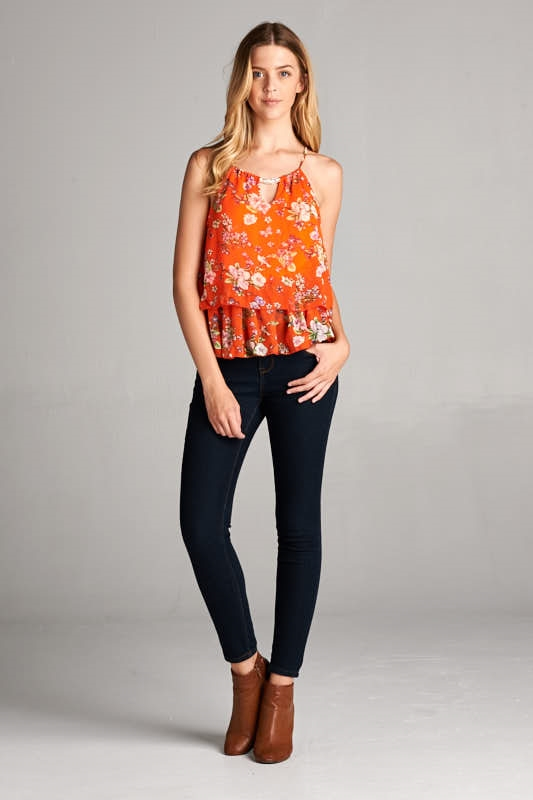 FLORAL TIERED RACERBACK TOP - orangeshine.com