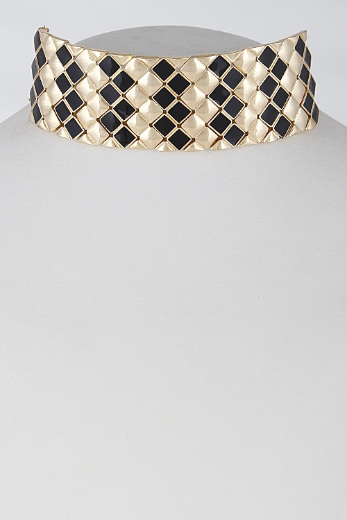 Checkered Diamond Choker - orangeshine.com