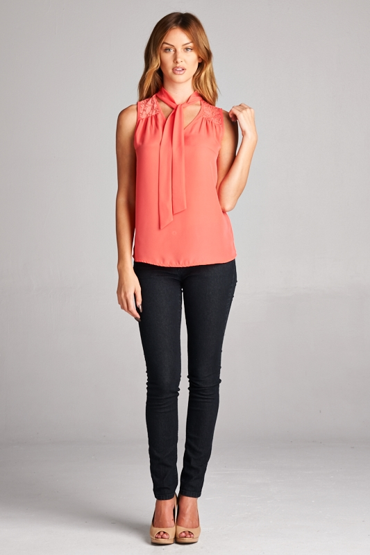 SLEEVELESS BLOUSE W/ SELF TIE - orangeshine.com