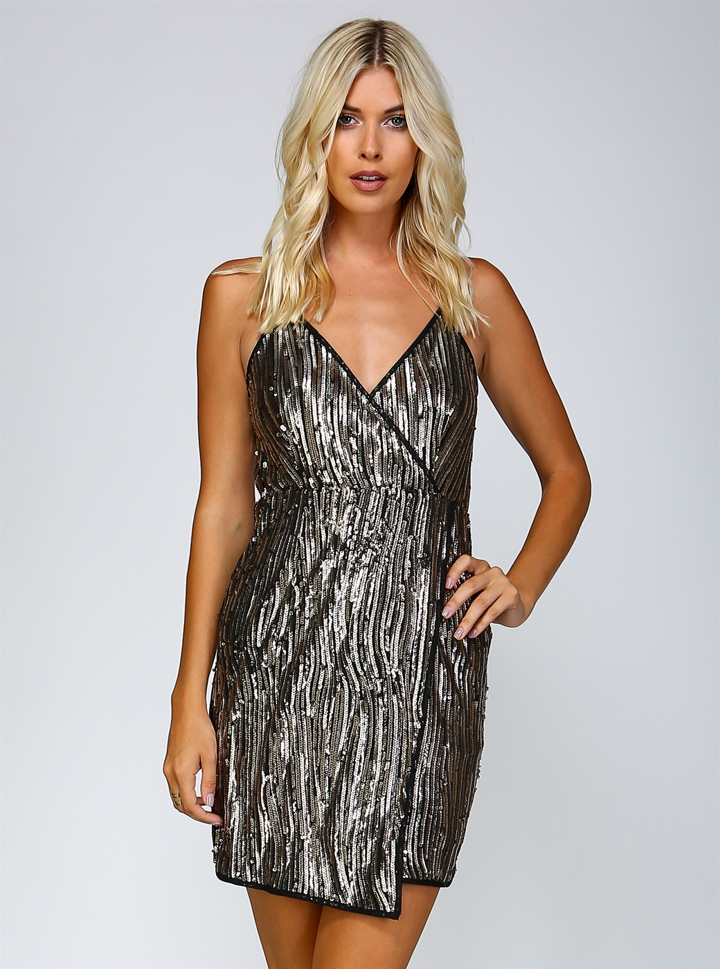 FITTED SEQUIN MID DRESS - orangeshine.com