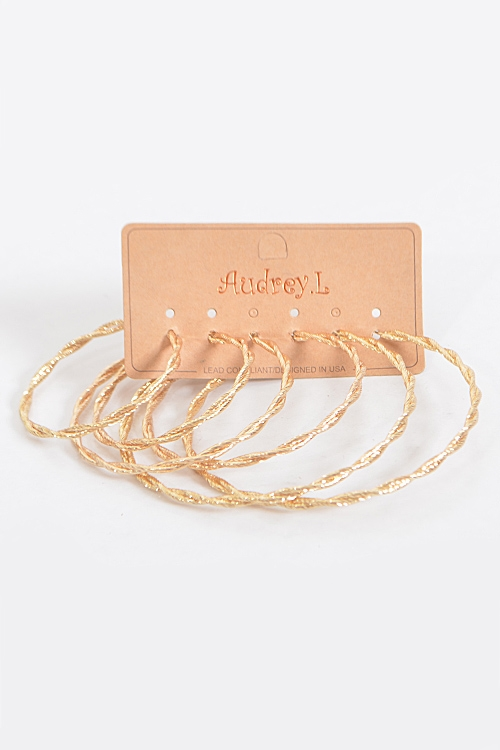 Shiny Twisted Hoop Earrings - orangeshine.com