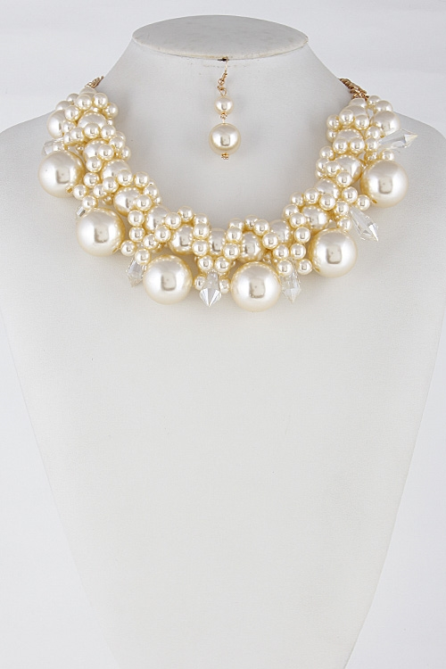 Formal Faux Pearl Necklace - orangeshine.com
