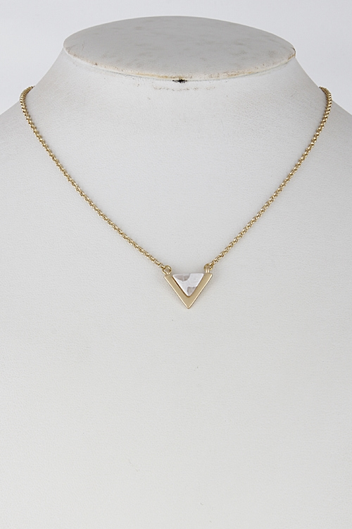 Triangle Faux Stone Necklace - orangeshine.com