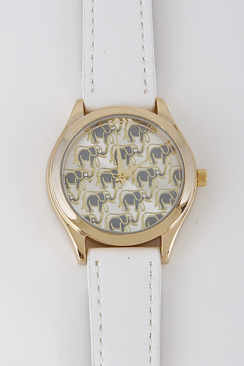 Solid Elephant Patterned Watch - orangeshine.com