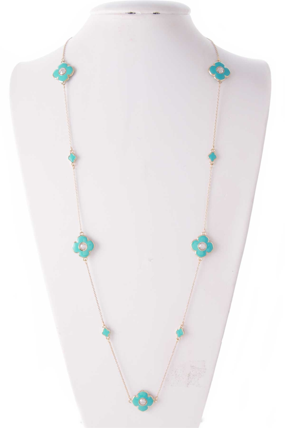 LONG FLOWER CRYSTAL NECKLACE - orangeshine.com