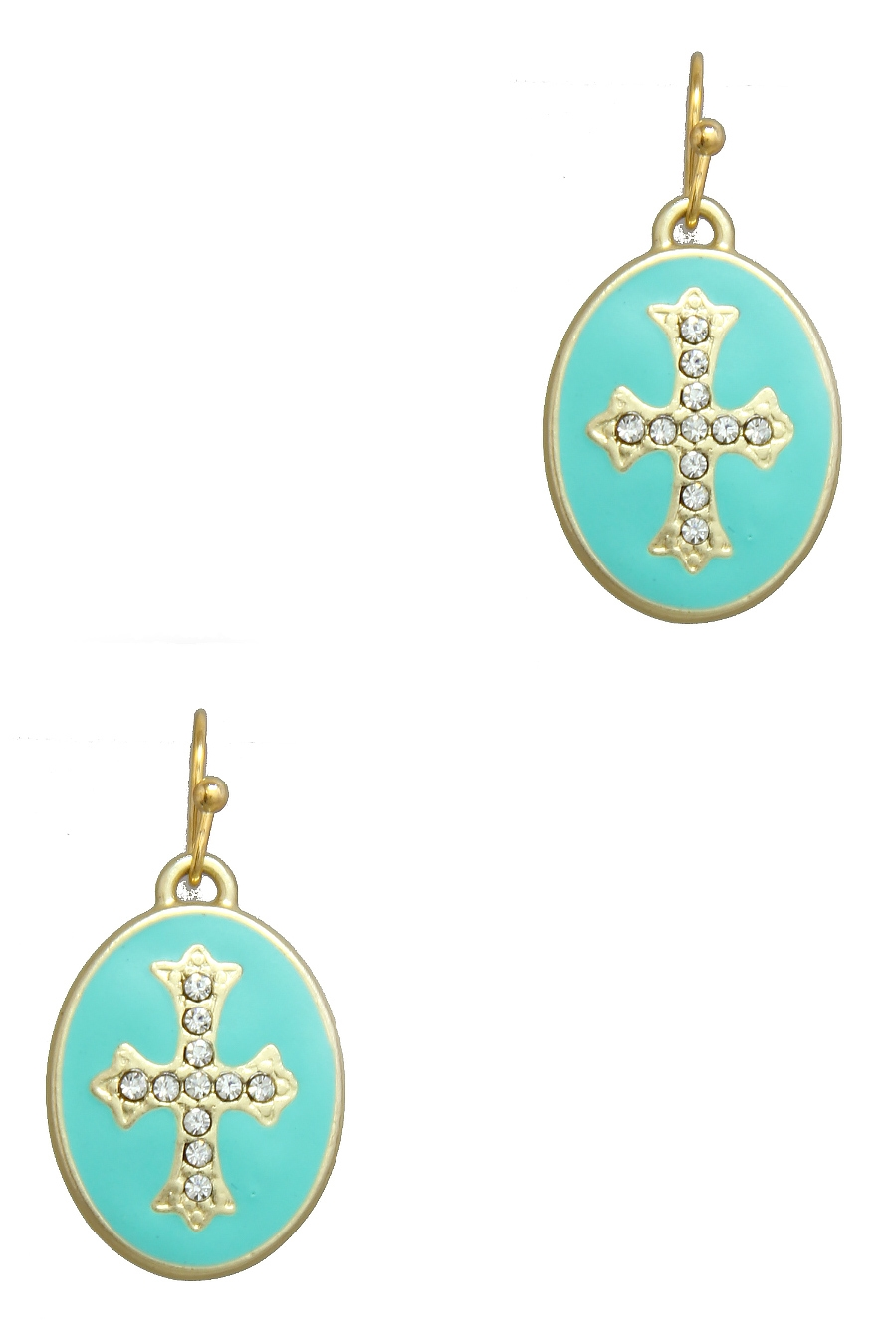 OVAL CROSS DESIGN EARRING - orangeshine.com