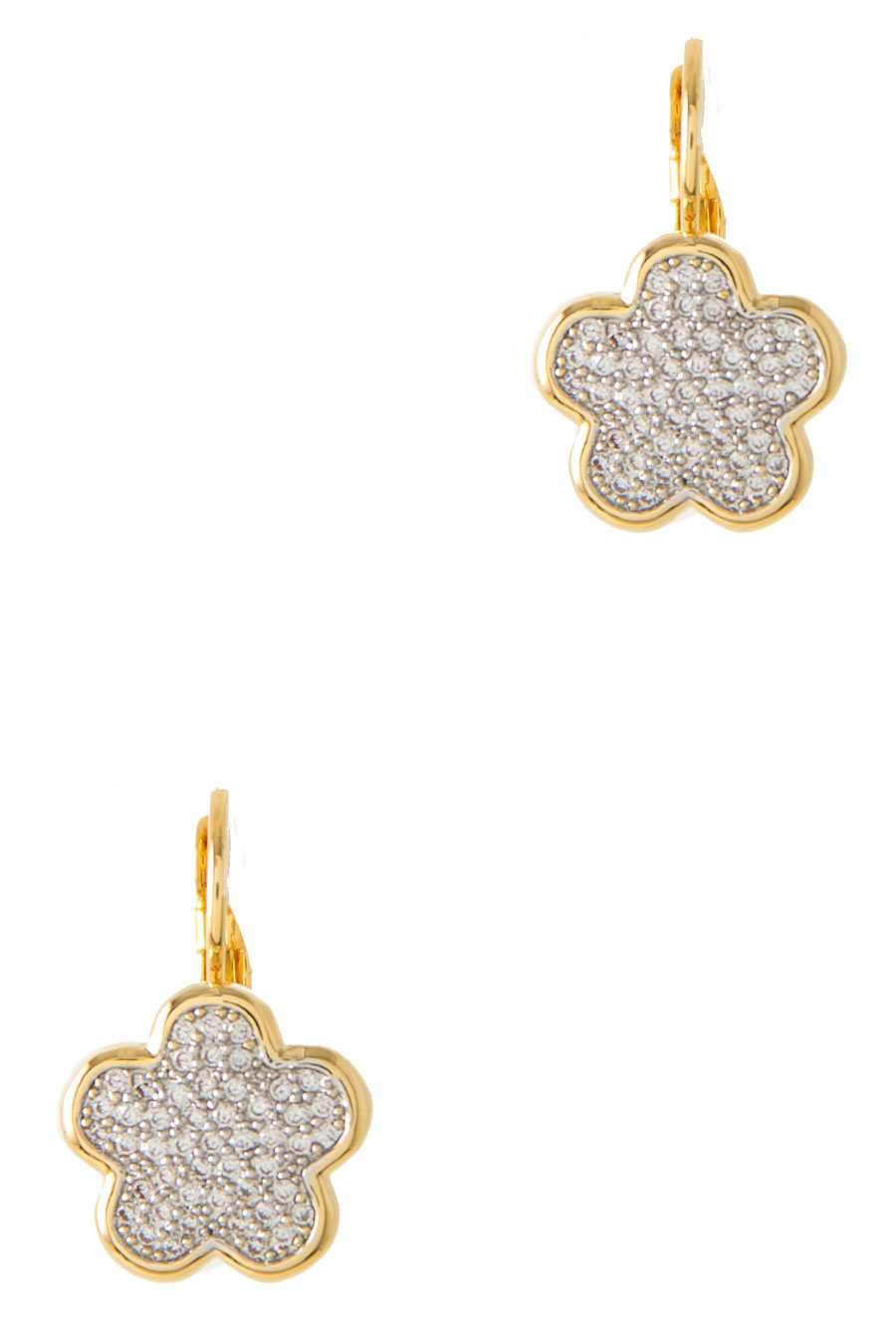 FLOWER PAVE TWO-TONE EARRING - orangeshine.com