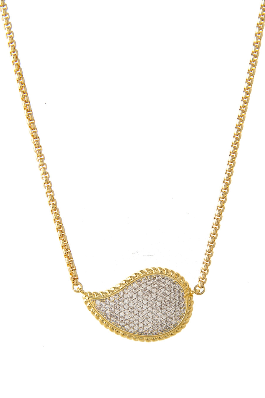 PAISLEY PAVE PENDANT NECKLACE - orangeshine.com