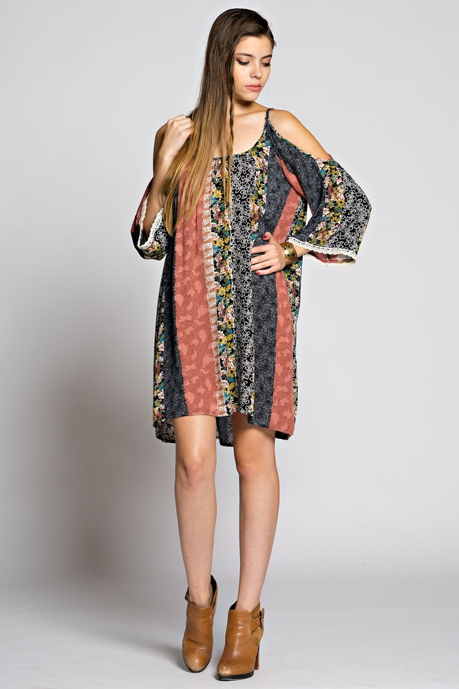 OFF SHOULDER PRINTED DRESS - orangeshine.com