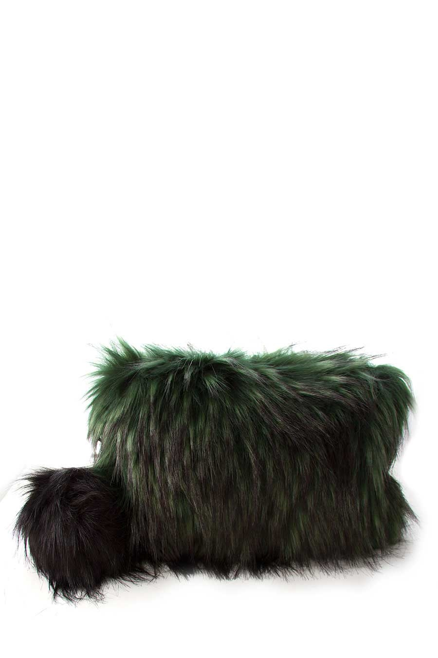 POM POM FAUX FUR CLUTCH BAG - orangeshine.com
