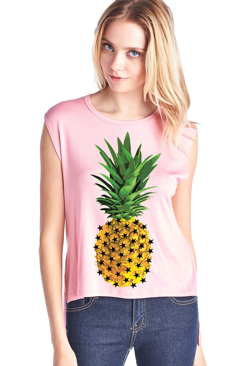 Pineapple Sleeveless HiLo Top - orangeshine.com