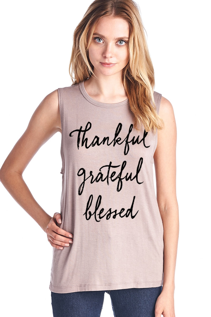 Thankful Muscle Tank Top - orangeshine.com