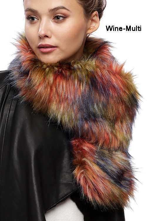 Multi-color Faux Fur Scarf - orangeshine.com