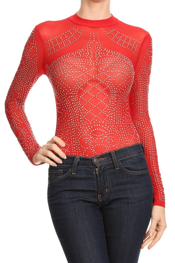Studded mesh bodysuit with lon - orangeshine.com