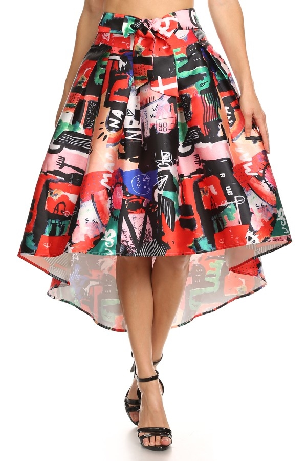 Print Knee Length Skirt - orangeshine.com