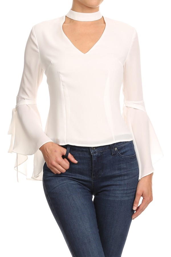 Fit Blouse with Mock Neck - orangeshine.com