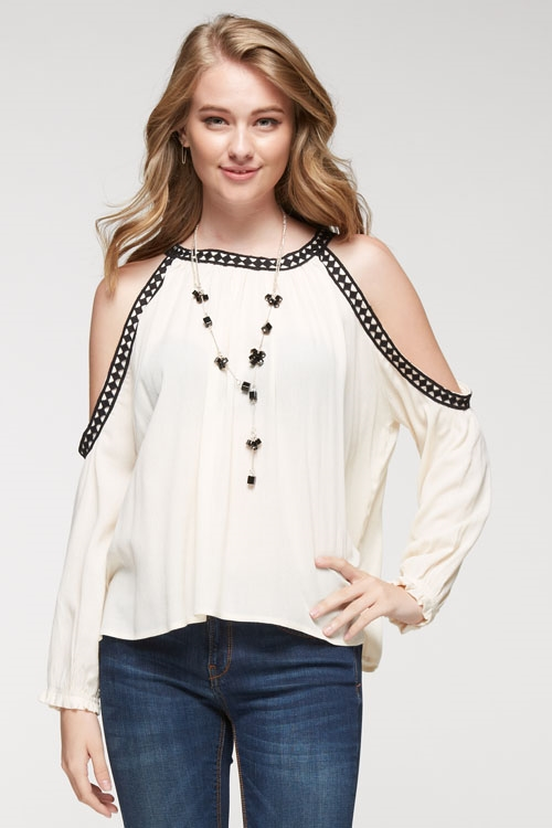 Cold shoulder top french lace - orangeshine.com