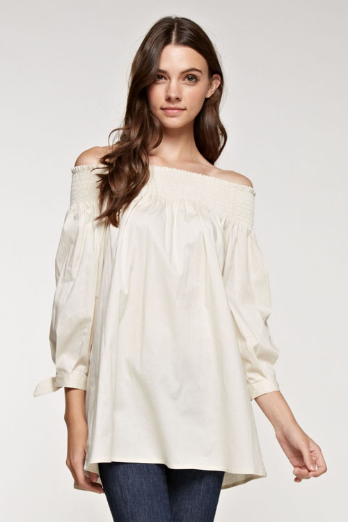 Smock off shoulder tunic top - orangeshine.com