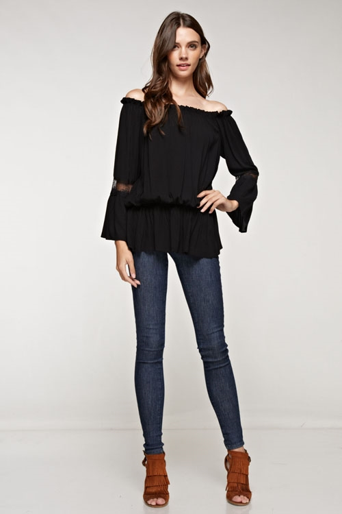 off shoulder bell sleeves top - orangeshine.com