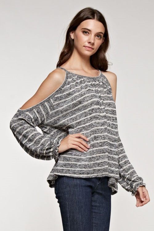 Knit stripe cold shoulder top - orangeshine.com