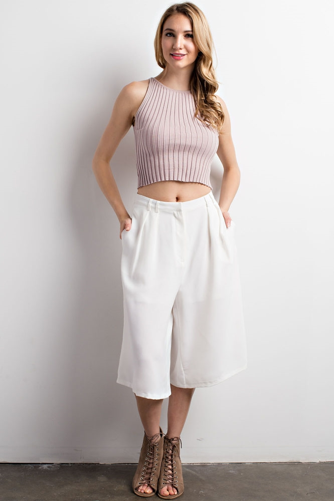 Pleated Wide-Leg Pants - orangeshine.com