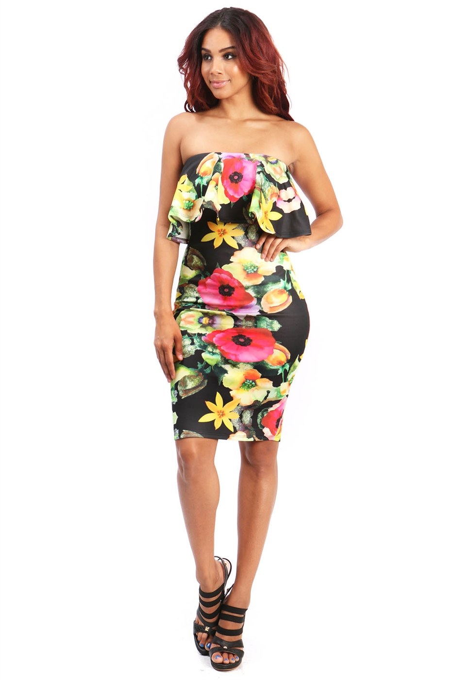 floral scuba bodycon dress - orangeshine.com