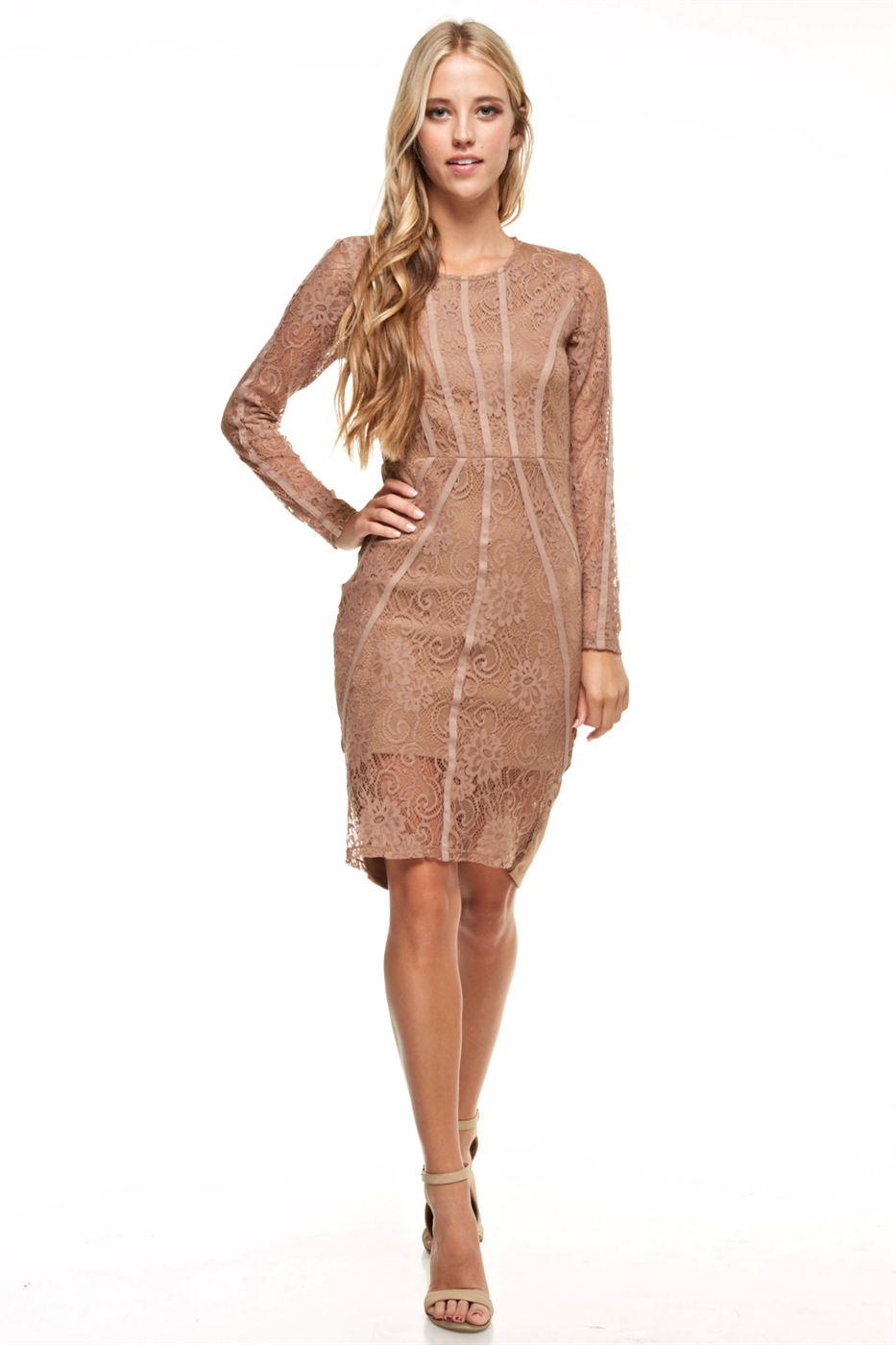 Long Sleeve Lace Mini Dress - orangeshine.com