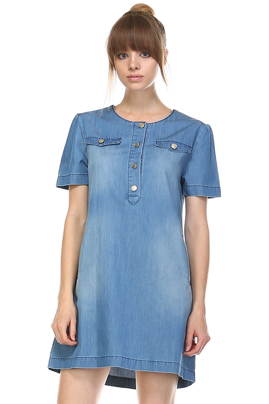 DENIM DRESS W POCKETS - orangeshine.com