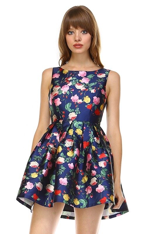 NAVY FLORAL DRESS - orangeshine.com