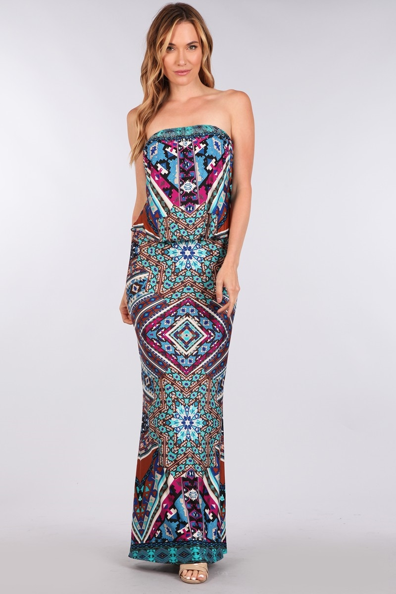 PRINTED TUBE MAXI DRESS - orangeshine.com