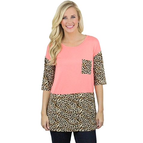 Leopard Print Tee with Pocket - orangeshine.com