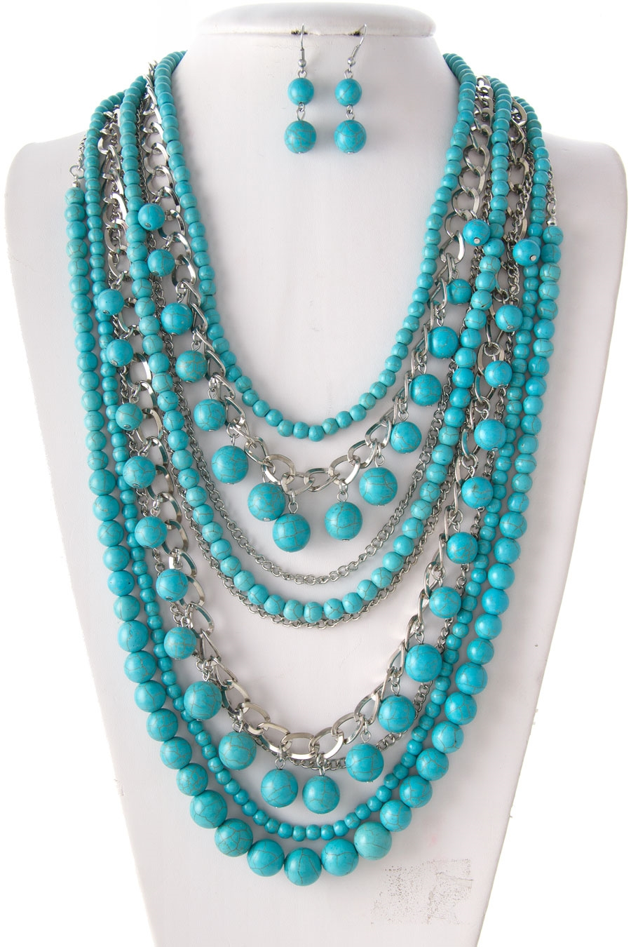 TURQUOISE STONE BEAD NECKLACE  - orangeshine.com