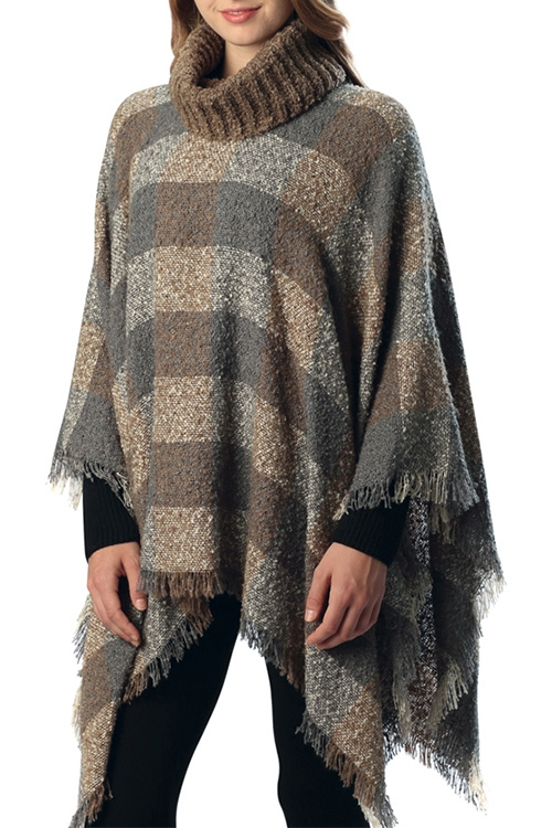 Check Patterned Poncho - orangeshine.com