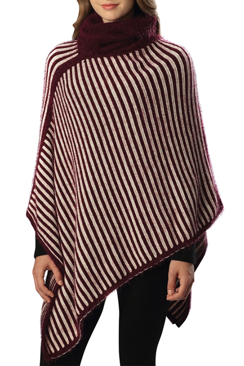 Striped Turtleneck Poncho - orangeshine.com