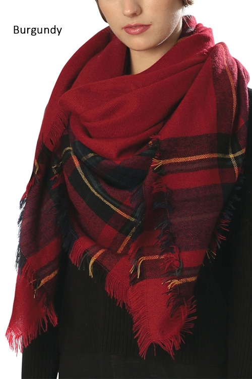 Striped Square Shawl Scarf - orangeshine.com