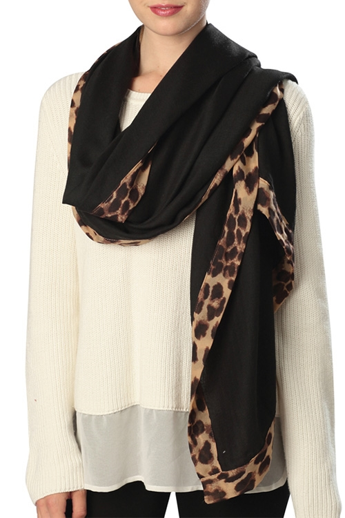 Scarf with Animal Print Edge - orangeshine.com