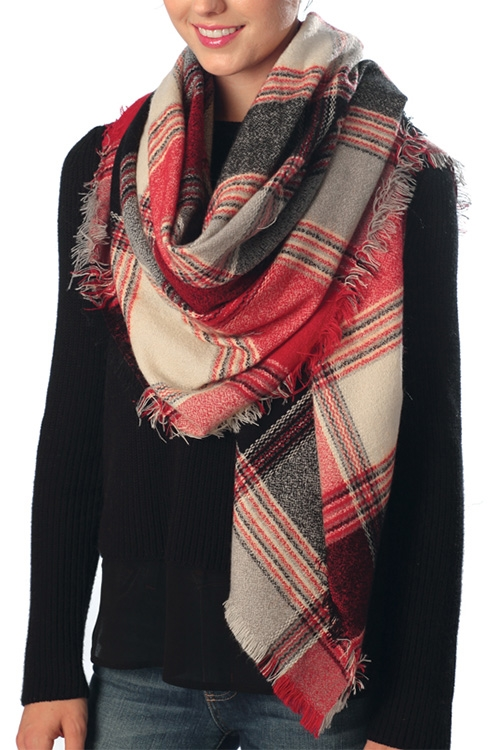 Plaid Oblong Scarf - orangeshine.com