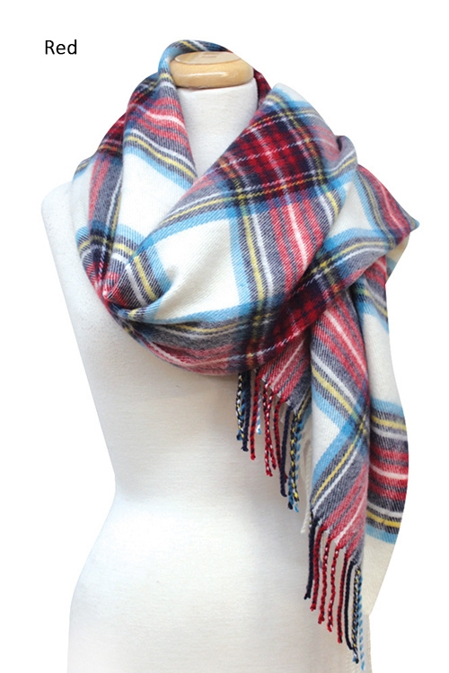 Plaid Scarf with Fringe - orangeshine.com