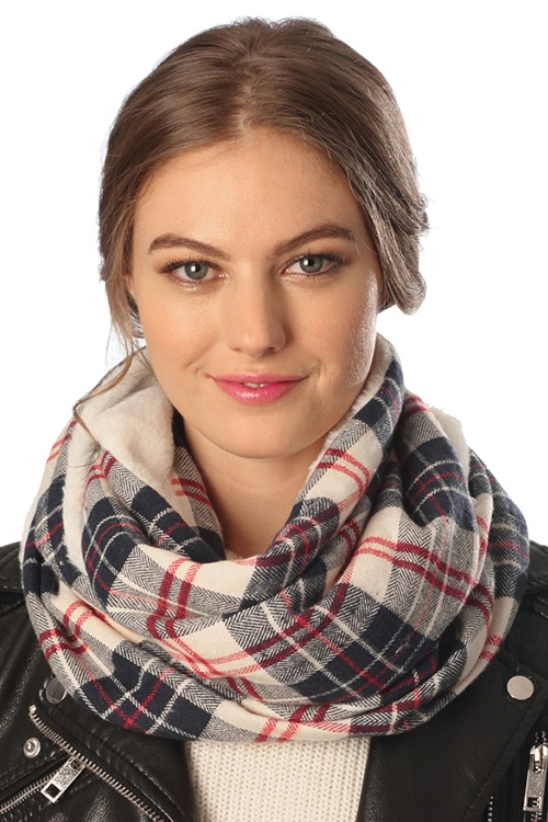 Plaid Pattern Faux Fur Scarf - orangeshine.com