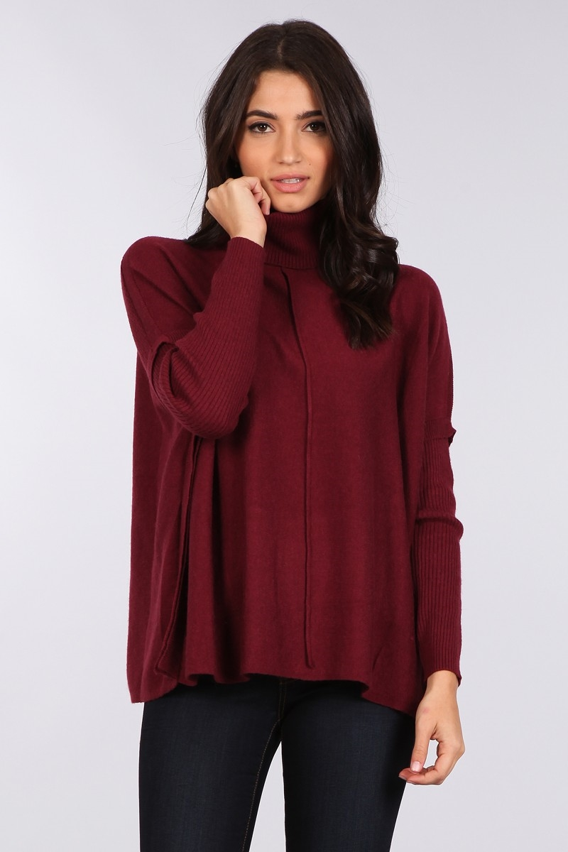 BOXY TURTLENECK SWEATER - orangeshine.com