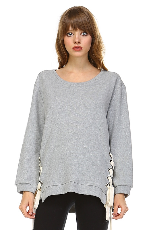 GREY SWEATER W/ SIDE LACE - orangeshine.com