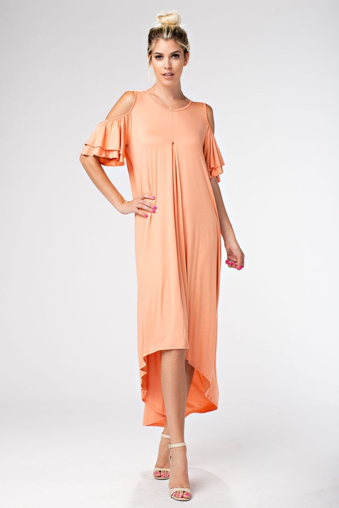 COLD SHOULDER LONG DRESS - orangeshine.com
